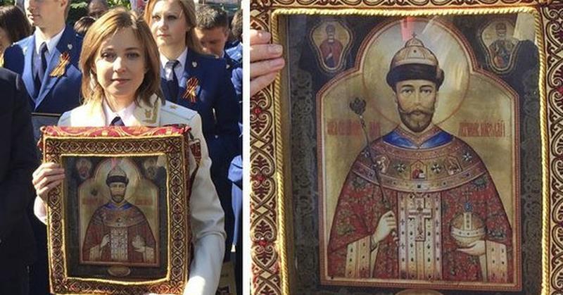 Наталья Поклонская с иконой царя во время шествия «Бессмертного полка»